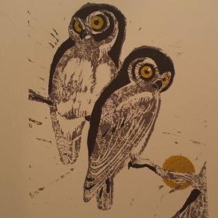 Owls, hand block-printed on handmade cotton paper (2015)