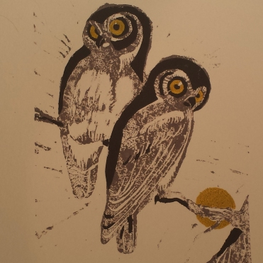 Owls, hand block-printed on handmade cotton paper (2015)